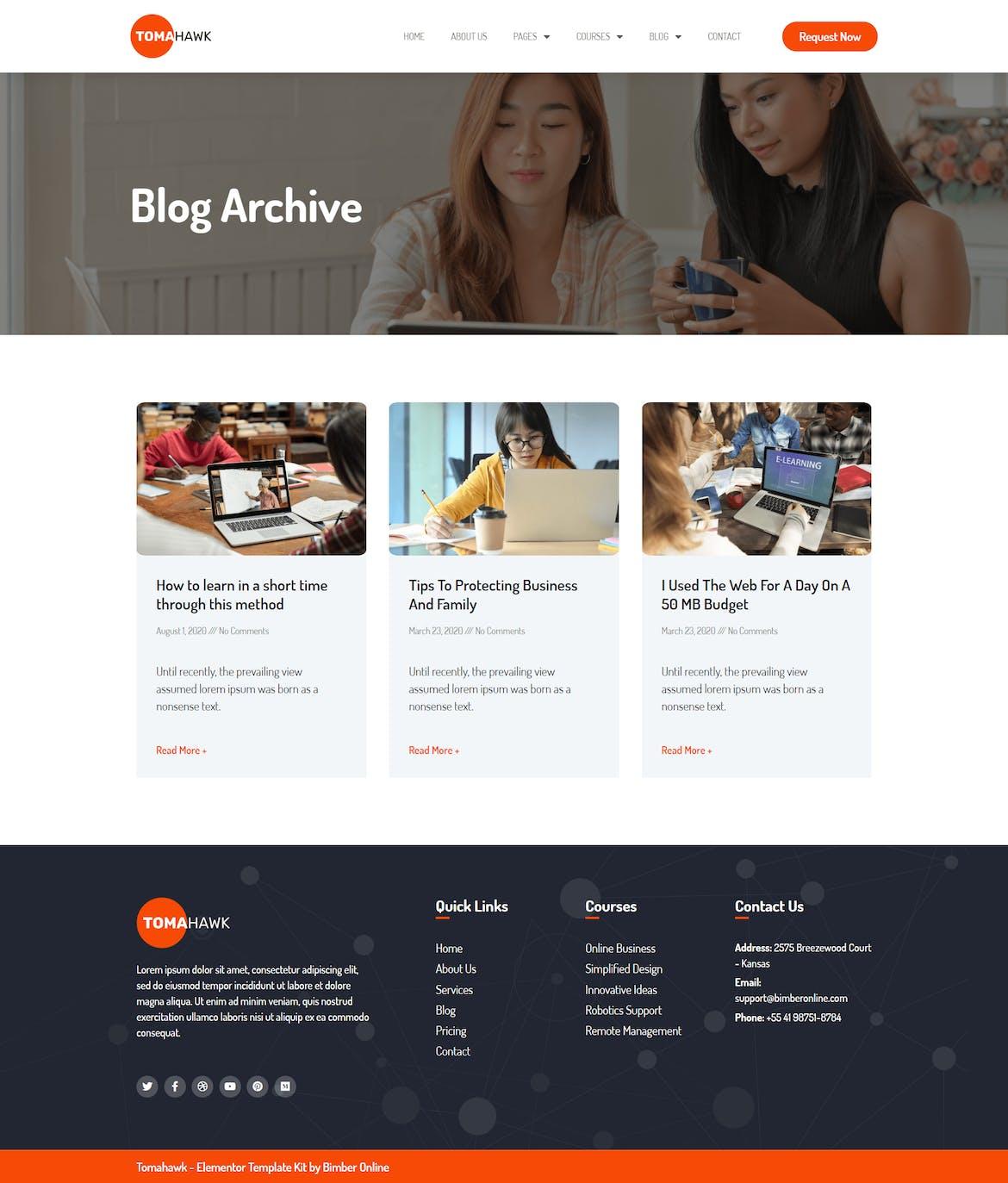 Tomahawk - Online Courses Template Kit - Design Template Place