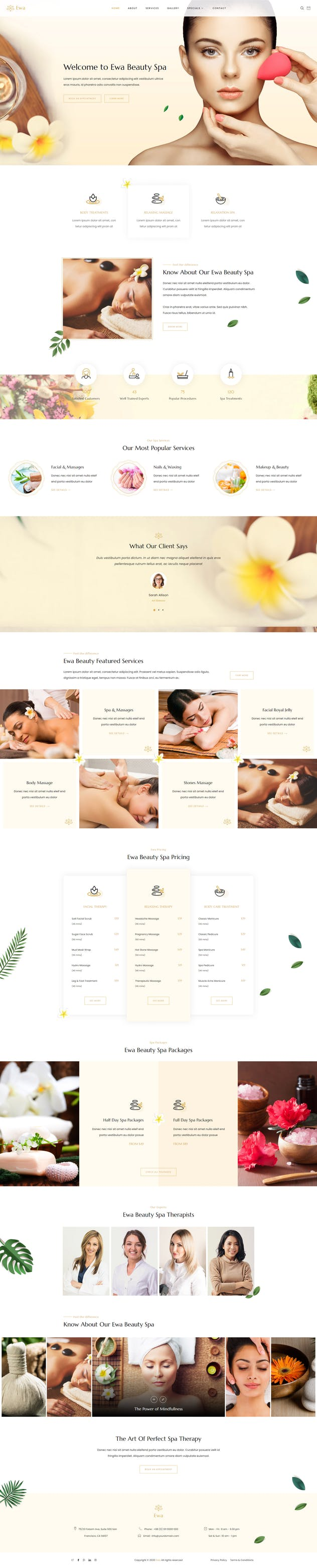 Ewa - Beauty & Spa Salon Elementor Template Kit - product preview 2