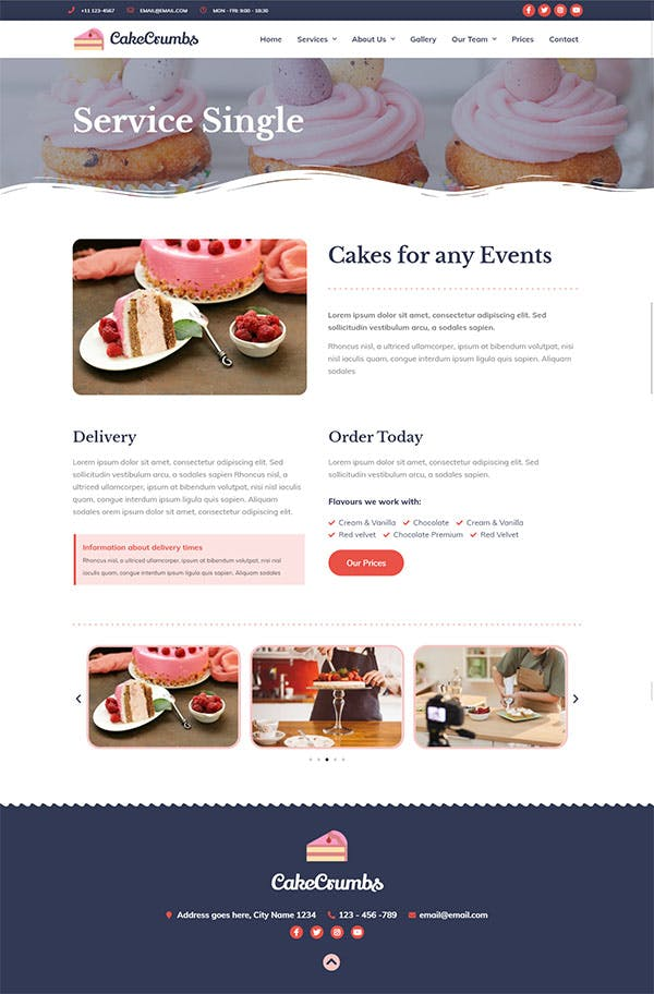 Cakecrumbs - Bakery Elementor Template kit by ingridk on Envato Elements
