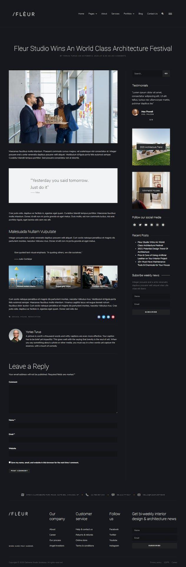 Fleur - Architecture & Interior Elementor Template Kit
