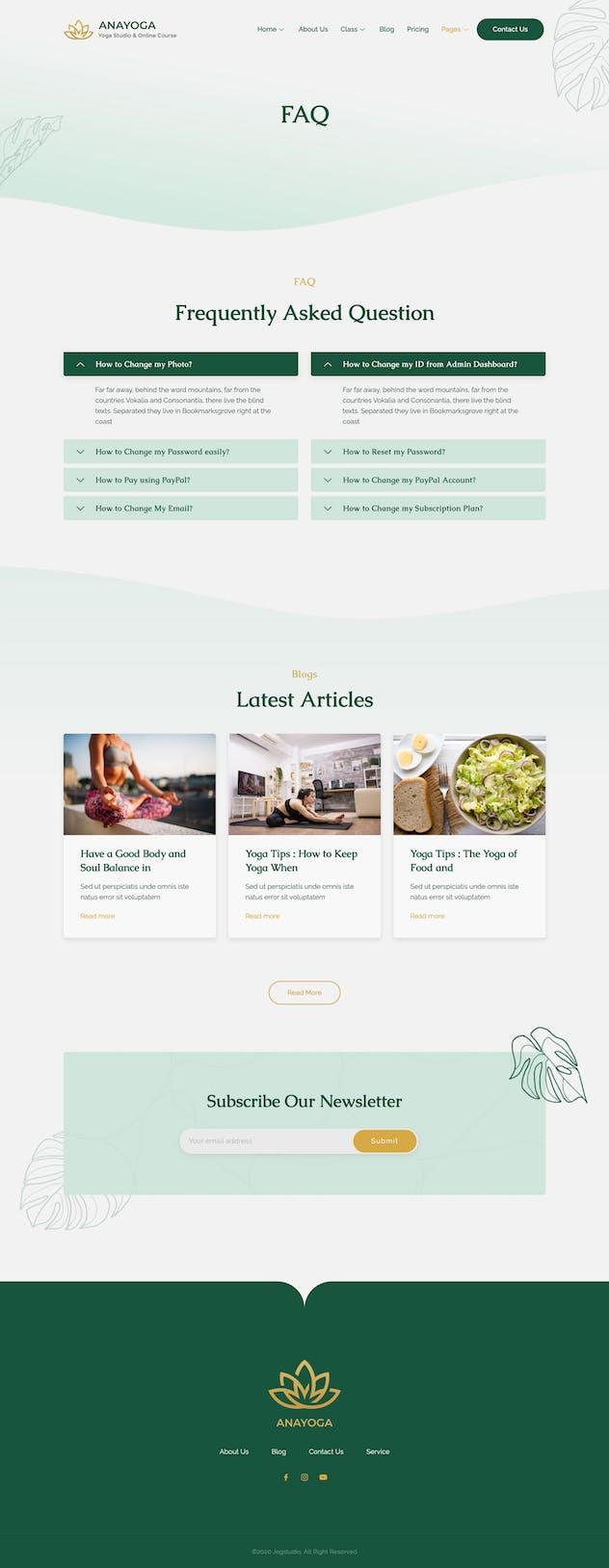 Anayoga - Yoga Teacher & Studio Elementor Template Kit