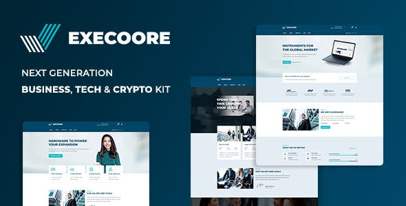 Execoore - Tech & Fintech Crypto Elementor Template Kit - product preview 1
