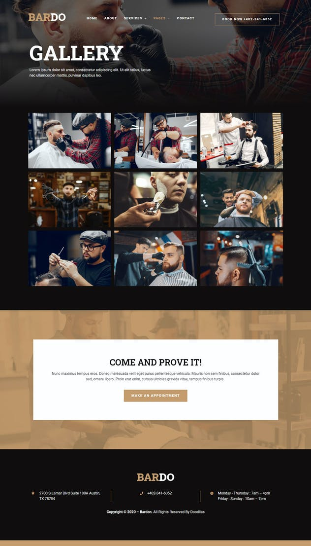 Bardo - Gentleman Barbershop Elementor Template Kit - product preview 4