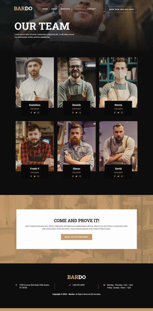 Bardo - Gentleman Barbershop Elementor Template Kit - product preview 6