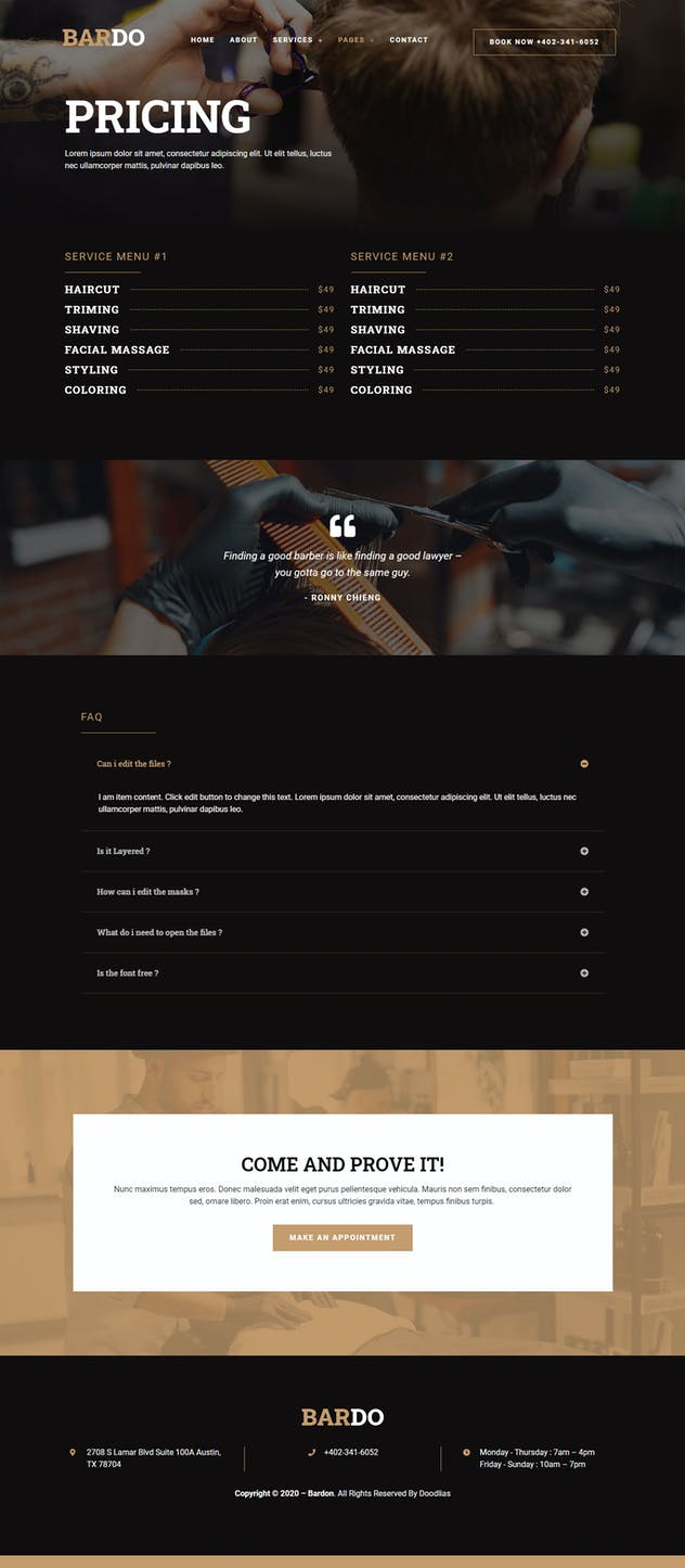 Bardo - Gentleman Barbershop Elementor Template Kit - product preview 7