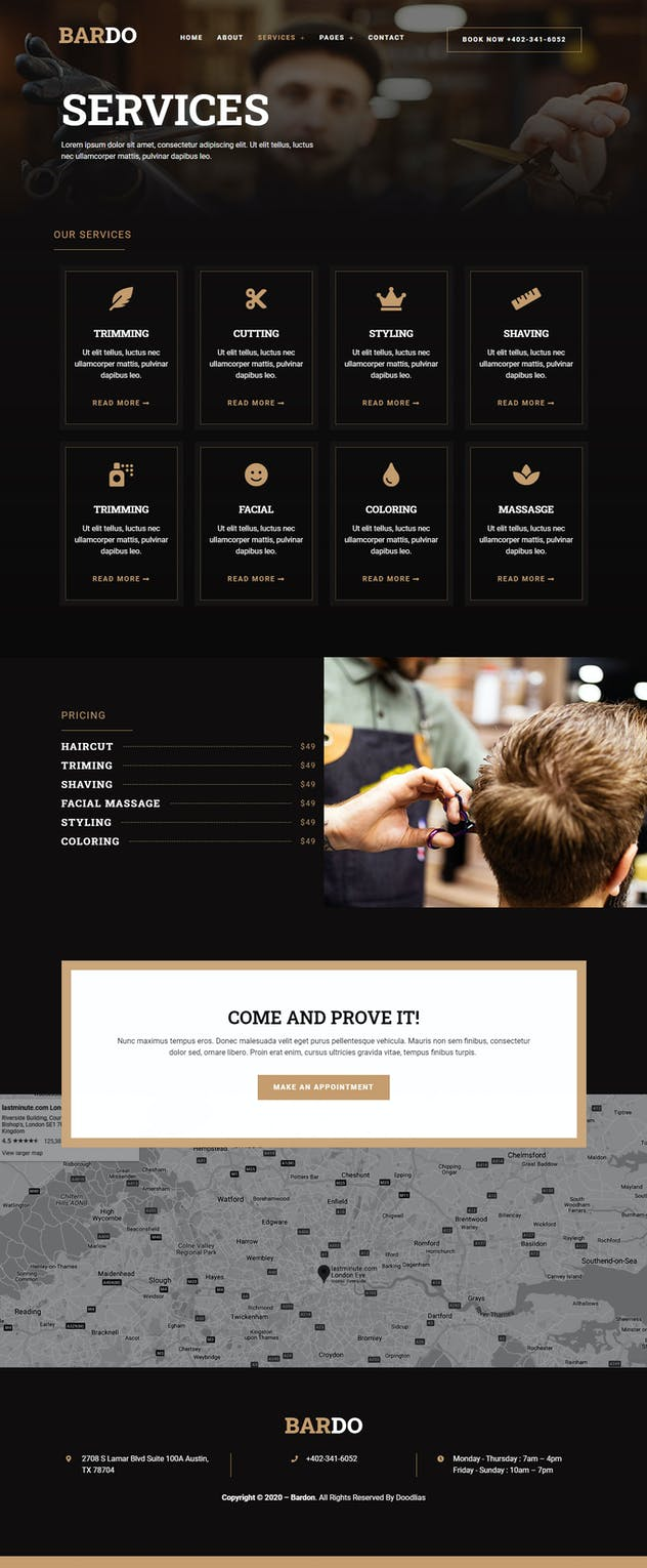 Bardo - Gentleman Barbershop Elementor Template Kit - product preview 8